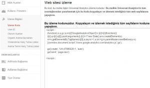 Google analytics ekleme